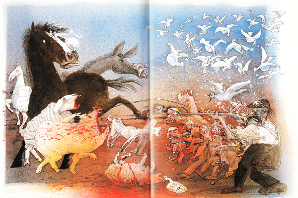 "Ralph Steadman's ""Animal Farm"" Illustrations: animalfarm_steadman12.jpg"