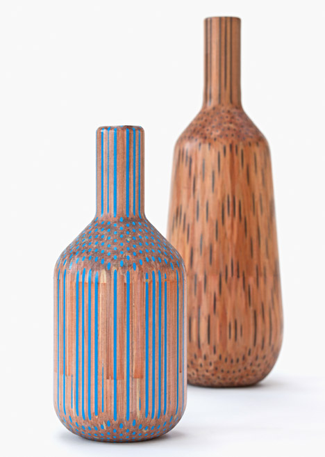 Tuomas Markunpoika Creates Beautiful Vases Using Hundreds of Pencils: pencilvases006.jpg