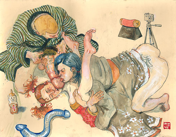 Modern Shunga from Jeff Faerber - NSFW: Supplicant_two_courtesans.jpg