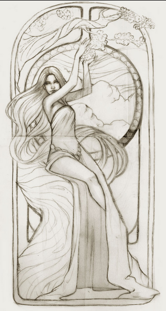 Daniela Uhlig Pays Homage to Alphonse Mucha: Screen shot 2014-07-14 at 1.17.18 AM.png