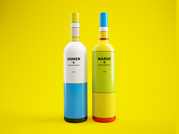 Mondrian and Homer Simpson Inspired Wine Bottles: 177034324ebcf2a8385c9fcfe6285051.jpg