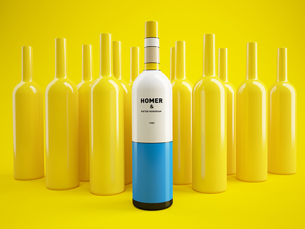 Mondrian and Homer Simpson Inspired Wine Bottles: 5f37697e0de9a988d93d94e67b229425.jpg