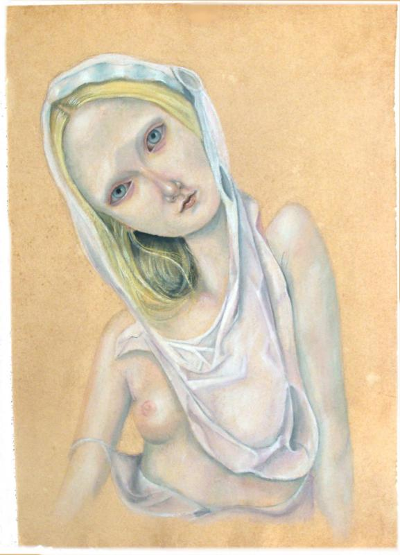The Muses of Teiji Hayama: Maris-Stella-gouache-oil-pastel-on-hand-made-paper-60-x-42-cm.jpg