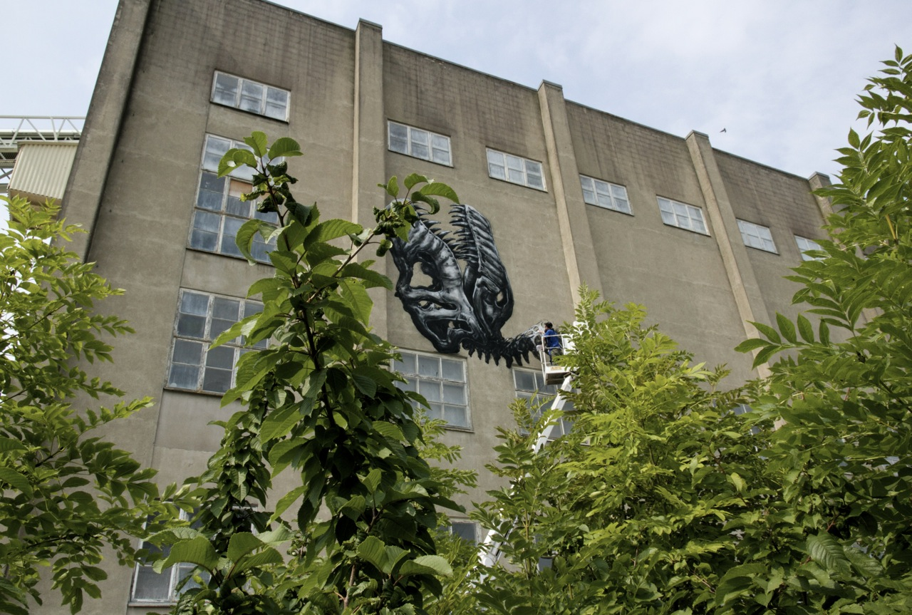 Roa Paints A Massive T-Rex in Sweden: JuxtapozROA001.jpg