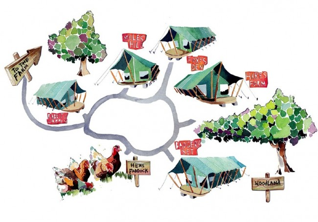 The Vibrant Watercolor Works of Holly Exley: illustrated-map-watercolour-painting-campsite_8001-650x455.jpg