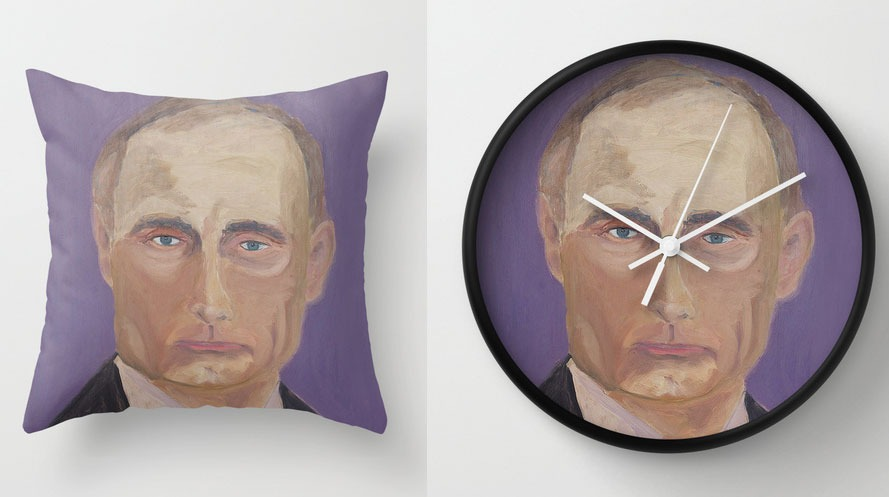 Bush and Putin Pillows and Clocks: putin-pillow-and-clock.jpg
