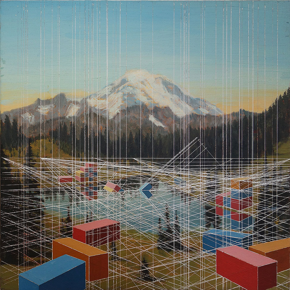 "Stephanie Buer & Mary Iverson ""After"" @ Thinkspace Gallery, Culver City: maryiverson_Tipsoo-Lake-with-Containers,-12-x-12-inches,-oil-on-canvas,-2014.jpg"
