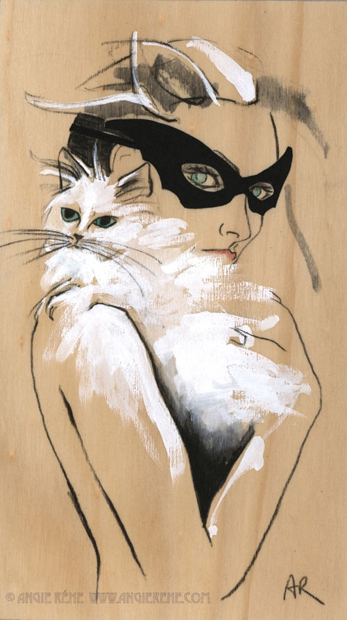 Angie Rehe Seamlessly Blends Art and Fashion: Cat-lady-illustration-on-wood.jpg