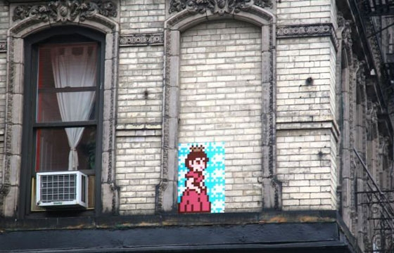 Princess Peach mosaic by Invader