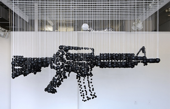 Assault Rifle Graphic Illusion Made From Ping Pong Balls