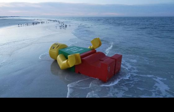 Giant Lego Man Washes Ashore in Siesta Key Village, Florida