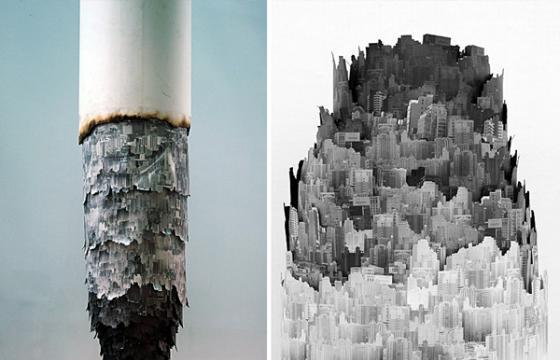 """Cigarette Ash Landscape"" Installation by Chinese Photographer and Artist Yang Yongliang"