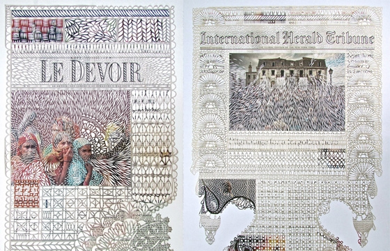 Intricately Cut Newspapers by Myriam Dion