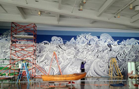 Massive Silver Pen Mural by Sandra Cinto @ Seattle Art Museum