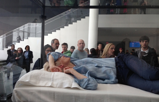 Tilda Swinton is sleeping on the job, literally, @ MoMA, NYC