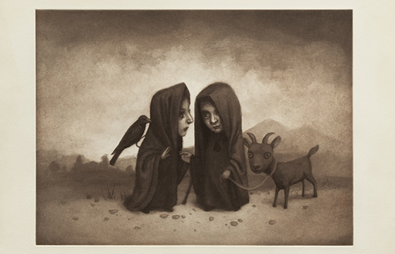 "Marion Peck: ""Two Witches Meeting on a Road"" Limited Edition Intaglio Print"
