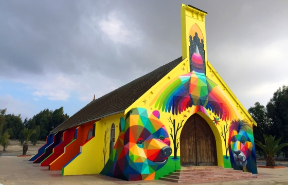 Juxtapoz Magazine - Okuda Paints Another Church