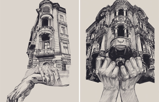 Illustrations of Architecture in Odessa by Dasha Pliska