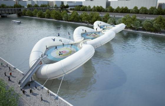 Designs for a Inflatable Trampoline Bridge in Paris