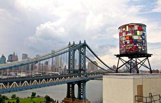 Kaleidoscopic Watertower in Brooklyn by Tom Fruin