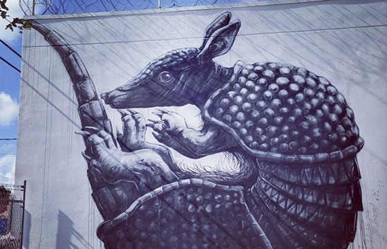 An armadillo by Roa in Miami