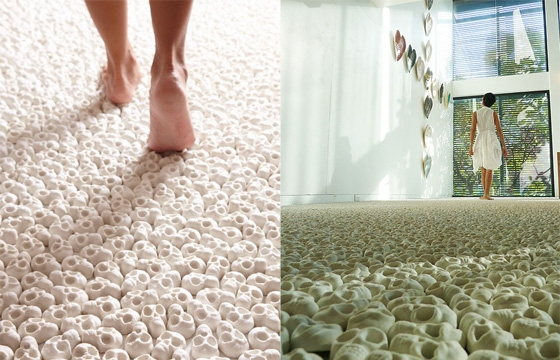 Gallery Floor Covered in 100,000 Porcelain Skulls
