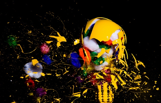 Photographs of Paint and Objects Exploding out of Light Bulbs