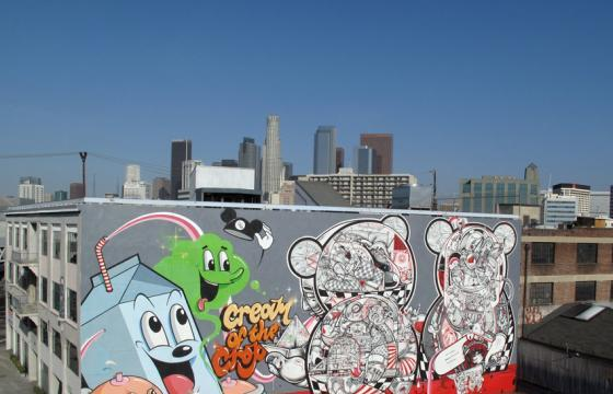 "Update: Dabs Myla with How & Nosm Finish ""Cream of the Crop"" Mural for LA Freewalls"