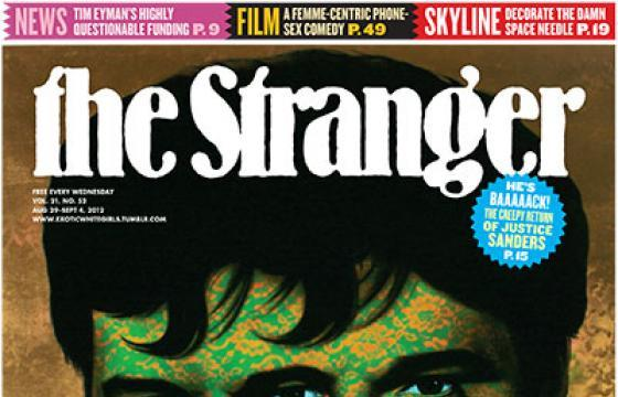 Ron English on Cover of The Stranger