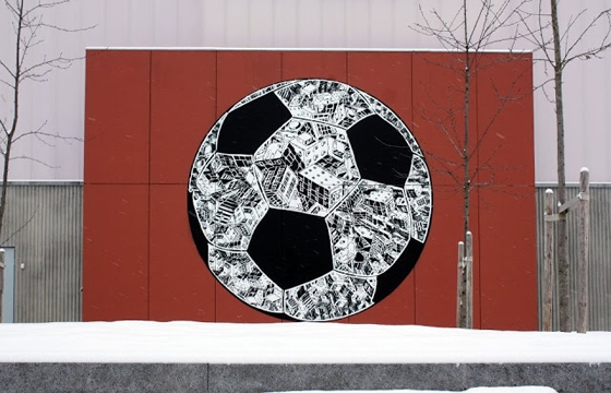 M-City Paints a large Soccer Ball
