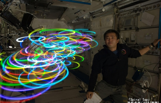 Koichi Wakata Light Paints Aboard the Space Station
