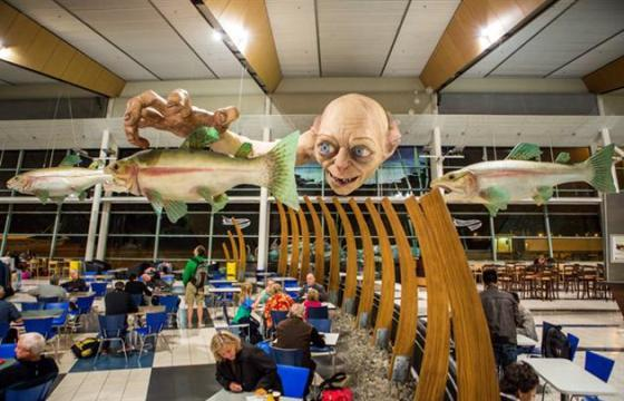 The GOLLUM SCULPTURE AT A NEW ZEALAND AIRPORT