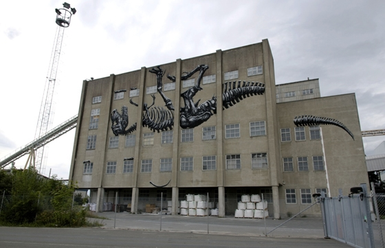 Roa Paints A Massive T-Rex in Sweden