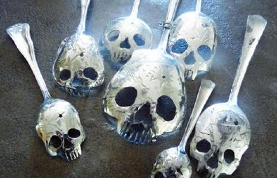 Silver Skull Spoons by Tom Sale