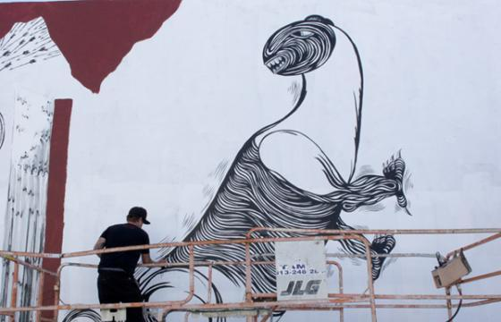 Andrew Schoultz 2nd Wall in Progress in Miami