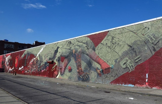 Smithe paints a dizzying mural in Brooklyn