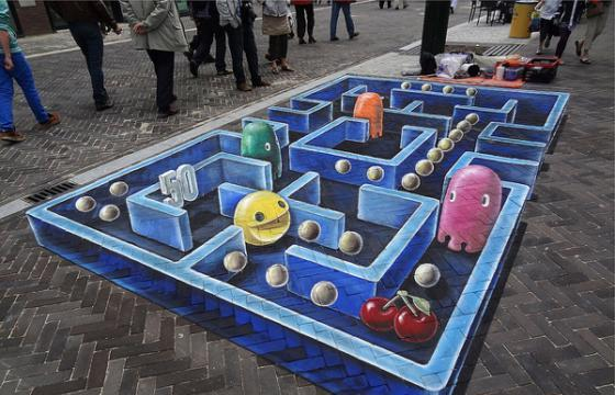 3D Pac-Man Ground Painting