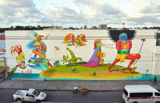 Interesni Kazki paint gigantic detailed mural in Campeche, Mexico