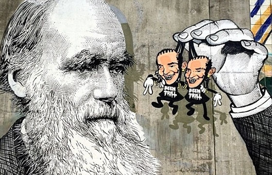 Sever paints Charles Darwin contemplating the ATl Twins