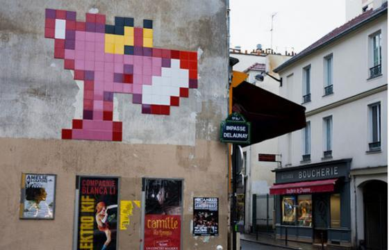 Pink Panther in Paris from Invader