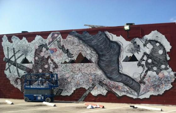 Andrew Schoultz Mural in Progress for Primary Flight