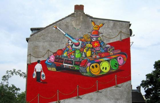 """Tank Man"" Parody mural by Captain Borderline Crew"