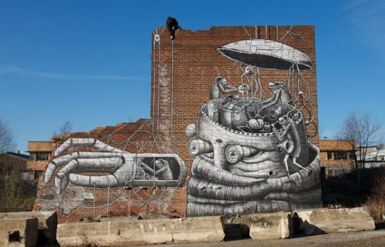 Giant Robot under construction by Phlegm