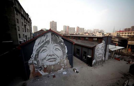 Vhils in Shanghai, China