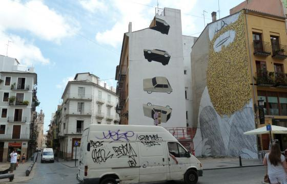 Escif and Blu in Valencia, Spain