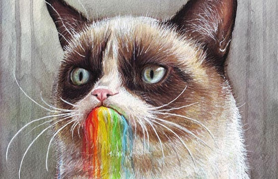 Grumpy Cat Tastes the Rainbow