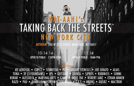 "WAT-AAH!  RETURNS TO NEW YORK CITY WITH ITS ART INITIATIVE ""TAKING BACK THE STREETS