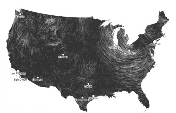 Live and Archived Wind Maps Using Data Visualization