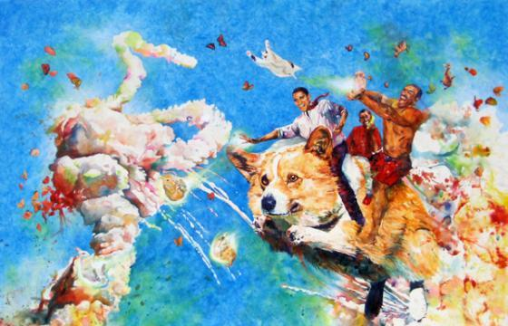 When Obama Flew Into an Explosion On A Corgi, and other Disasterpieces by Conrad Ruiz