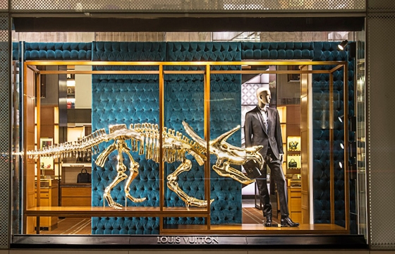 The Gilded Dinosaur Skeleton Installation @ Louis Vuitton, NYC